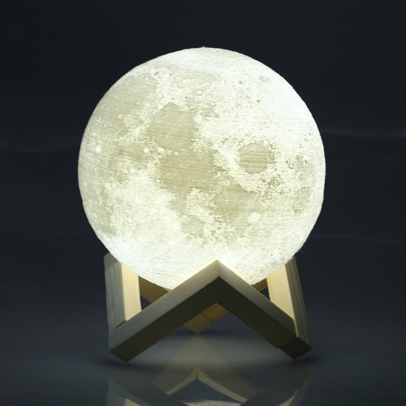 Moon Lamp, 3D Printed Lunar LED Lamp Night Light with Remote