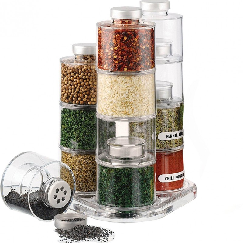 Acrylic Premium Kitchen Spice Stackable Rack Tower Carousel with Lid (12-Bottle)